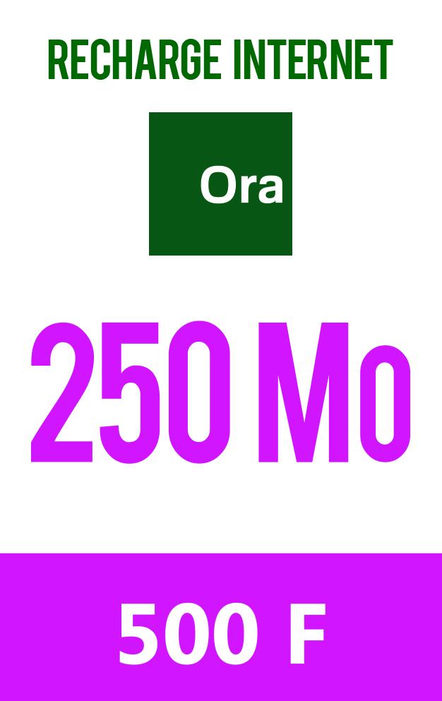 Carte prépayée 250 Mo à 500 F